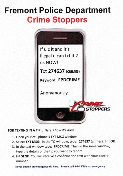 Text crimestoppers